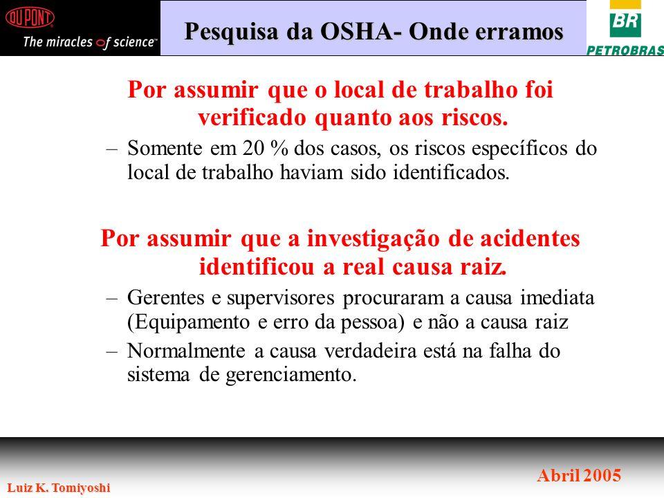 Luiz K. Tomiyoshi Abril 2005 Por assumir que o local de trabalho foi verificado quanto aos riscos. –Somente em 20 % dos casos, os riscos específicos d