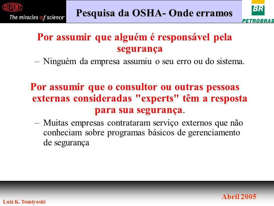 Luiz K. Tomiyoshi Abril 2005 Por assumir que alguém é responsável pela segurança –Ninguém da empresa assumiu o seu erro ou do sistema. Por assumir que