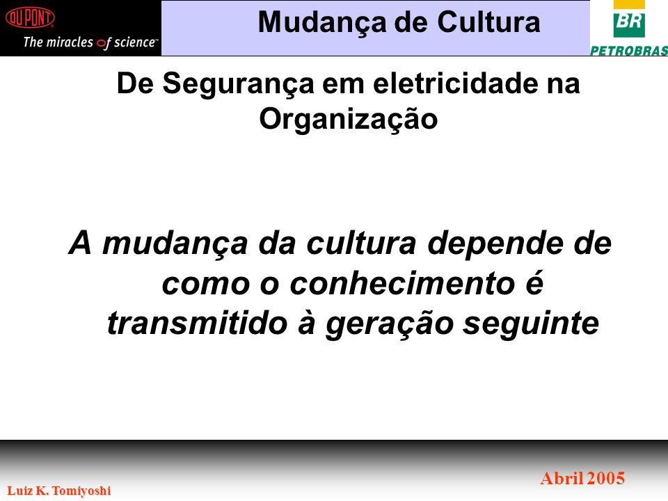 Luiz K. Tomiyoshi Abril 2005 A mudança da cultura depende de como o conhecimento é transmitido à geração seguinte De Segurança em eletricidade na Orga