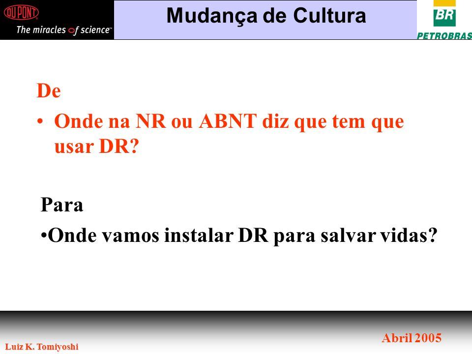 Luiz K. Tomiyoshi Abril 2005 De Onde na NR ou ABNT diz que tem que usar DR? Mudança de Cultura Para Onde vamos instalar DR para salvar vidas?