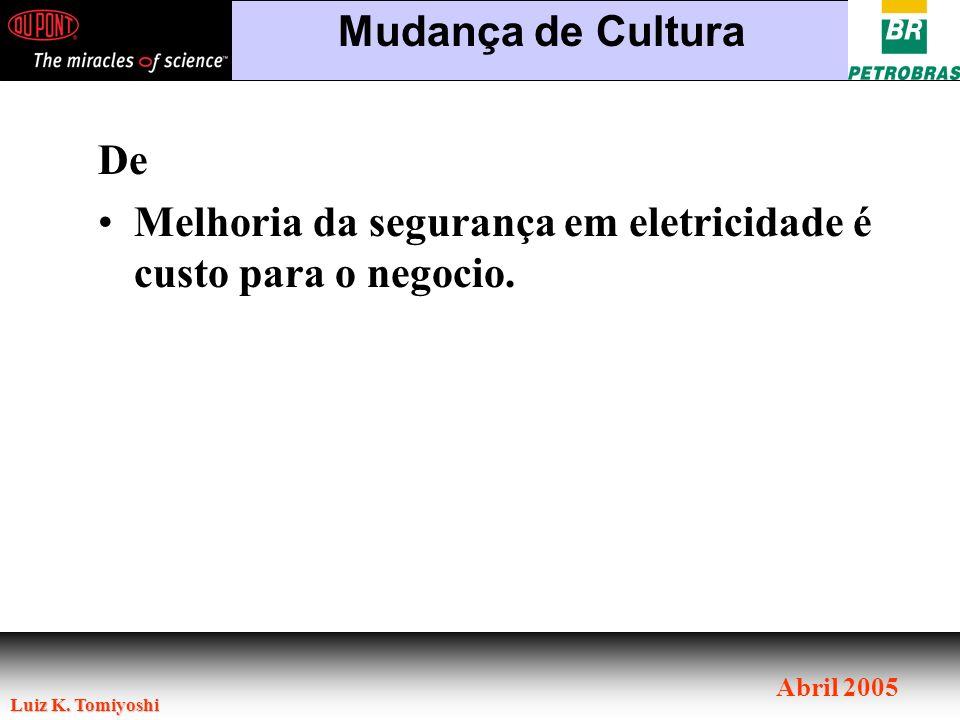 Luiz K. Tomiyoshi Abril 2005 De Melhoria da segurança em eletricidade é custo para o negocio. Mudança de Cultura
