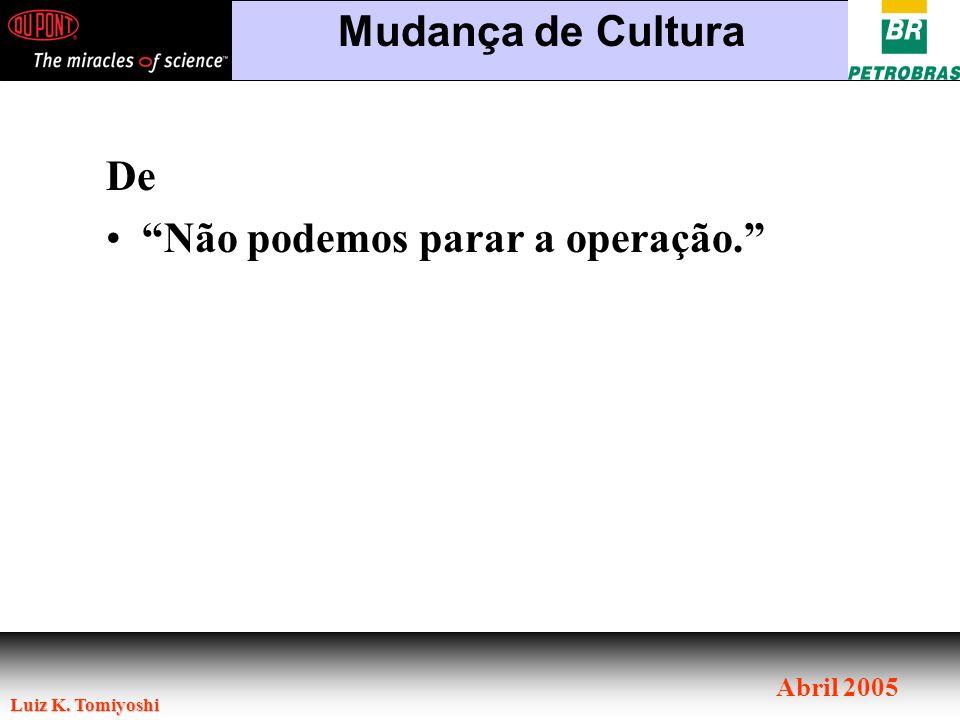 Luiz K. Tomiyoshi Abril 2005 De Não podemos parar a operação. Mudança de Cultura