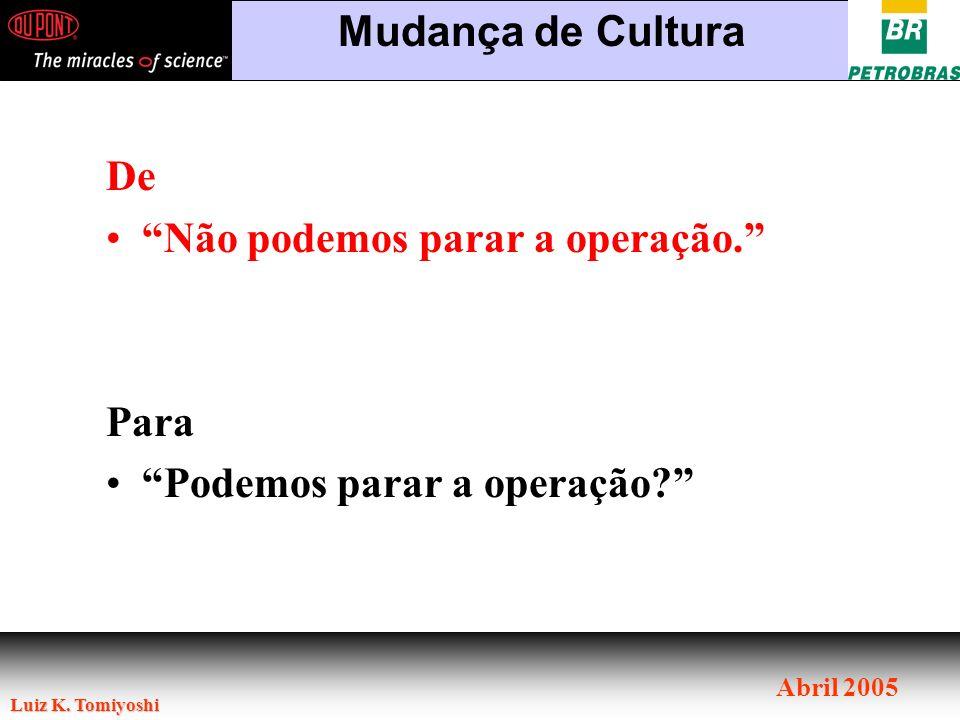 Luiz K. Tomiyoshi Abril 2005 Mudança de Cultura De Não podemos parar a operação. Para Podemos parar a operação?