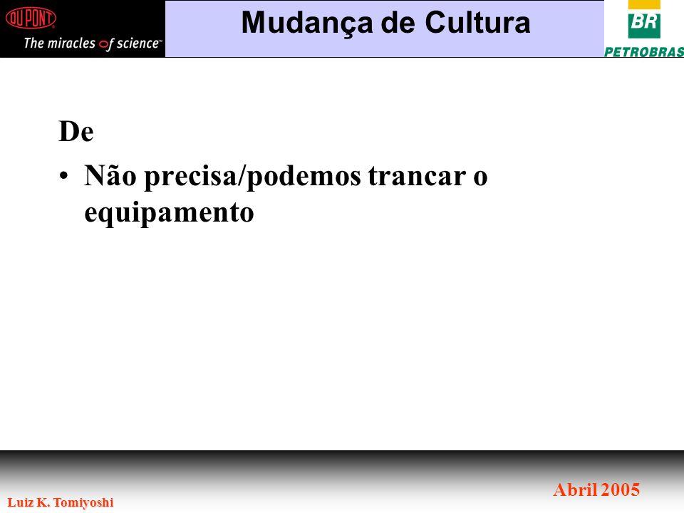 Luiz K. Tomiyoshi Abril 2005 De Não precisa/podemos trancar o equipamento Mudança de Cultura