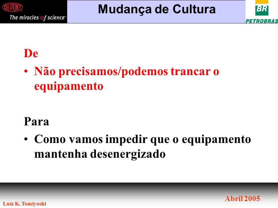 Luiz K. Tomiyoshi Abril 2005 Mudança de Cultura De Não precisamos/podemos trancar o equipamento Para Como vamos impedir que o equipamento mantenha des