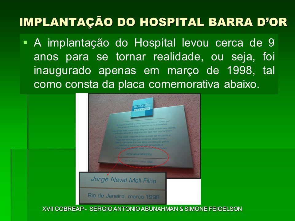 IMPLANTAÇÃO DO HOSPITAL BARRA DOR XVII COBREAP - SERGIO ANTONIO ABUNAHMAN & SIMONE FEIGELSON A implantação do Hospital levou cerca de 9 anos para se t