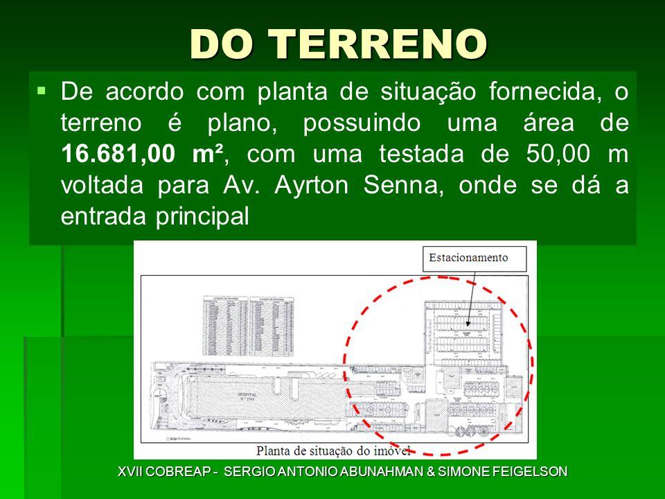 DO TERRENO De acordo com planta de situação fornecida, o terreno é plano, possuindo uma área de 16.681,00 m², com uma testada de 50,00 m voltada para