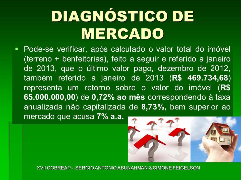 DIAGNÓSTICO DE MERCADO Pode-se verificar, após calculado o valor total do imóvel (terreno + benfeitorias), feito a seguir e referido a janeiro de 2013