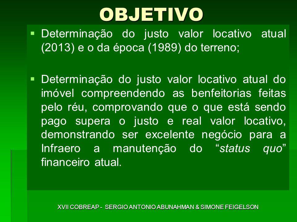 XVII COBREAP - SERGIO ANTONIO ABUNAHMAN & SIMONE FEIGELSON Determinação do justo valor locativo atual (2013) e o da época (1989) do terreno; Determina