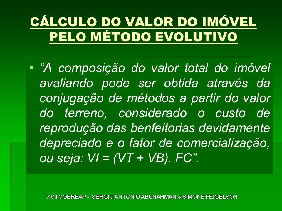 CÁLCULO DO VALOR DO IMÓVEL PELO MÉTODO EVOLUTIVO A composição do valor total do imóvel avaliando pode ser obtida através da conjugação de métodos a pa