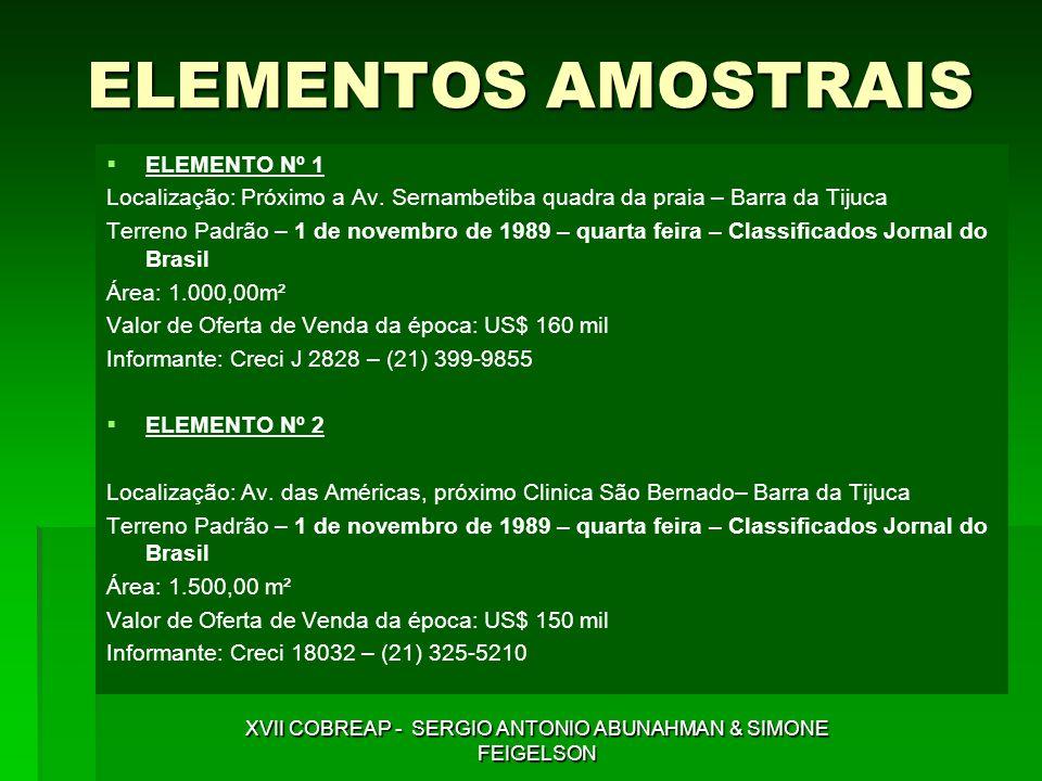 ELEMENTOS AMOSTRAIS ELEMENTO Nº 1 Localização: Próximo a Av. Sernambetiba quadra da praia – Barra da Tijuca Terreno Padrão – 1 de novembro de 1989 – q