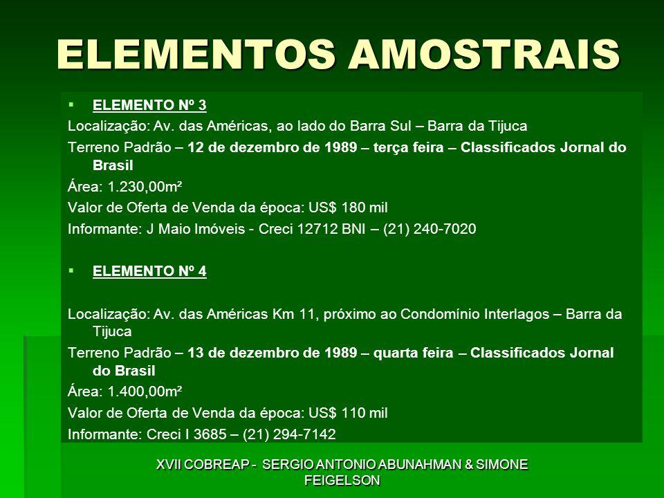 ELEMENTOS AMOSTRAIS ELEMENTO Nº 3 Localização: Av. das Américas, ao lado do Barra Sul – Barra da Tijuca Terreno Padrão – 12 de dezembro de 1989 – terç