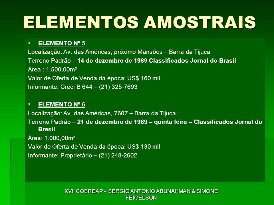 ELEMENTOS AMOSTRAIS ELEMENTO Nº 5 Localização: Av. das Américas, próximo Mansões – Barra da Tijuca Terreno Padrão – 14 de dezembro de 1989 Classificad