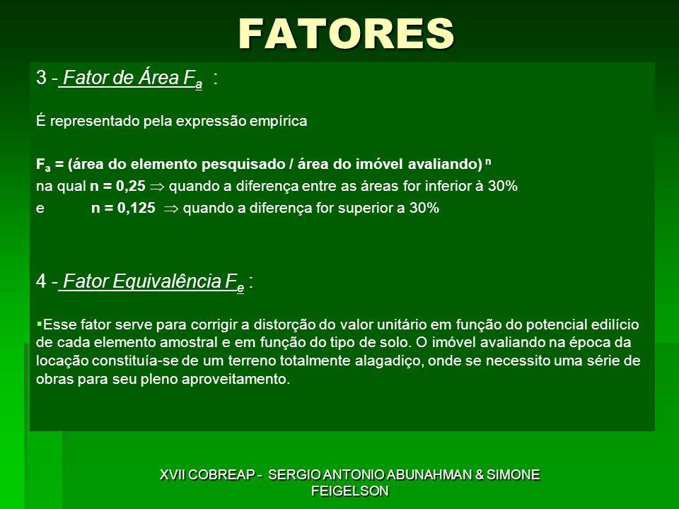 FATORES 3 - Fator de Área F a : É representado pela expressão empírica F a = (área do elemento pesquisado / área do imóvel avaliando) n na qual n = 0,