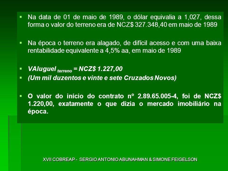 Na data de 01 de maio de 1989, o dólar equivalia a 1,027, dessa forma o valor do terreno era de NCZ$ 327.348,40 em maio de 1989 Na época o terreno era