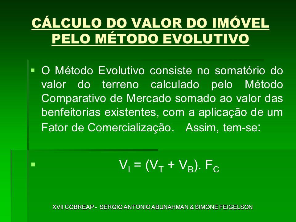 O Método Evolutivo consiste no somatório do valor do terreno calculado pelo Método Comparativo de Mercado somado ao valor das benfeitorias existentes,