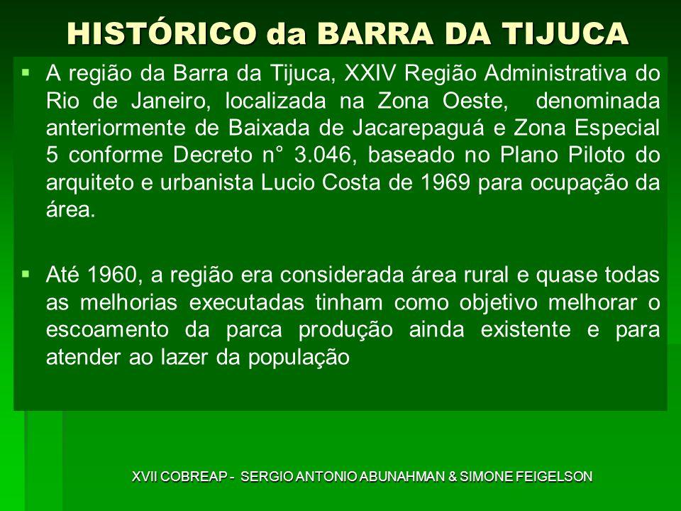 PLANO PILOTO BARRA DA TIJUCA Decreto nº 3.046, de 27/04/81, propôs uma urbanização racional e planejada da baixada compreendida entre a Barra da Tijuca, o Pontal de Sernambetiba e Jacarepaguá, rompendo com padrões de gabarito existentes, criando áreas non aedificandi e vias expressas XVII COBREAP - SERGIO ANTONIO ABUNAHMAN & SIMONE FEIGELSON