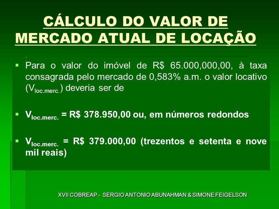 CÁLCULO DO VALOR DE MERCADO ATUAL DE LOCAÇÃO Para o valor do imóvel de R$ 65.000,000,00, à taxa consagrada pelo mercado de 0,583% a.m. o valor locativ