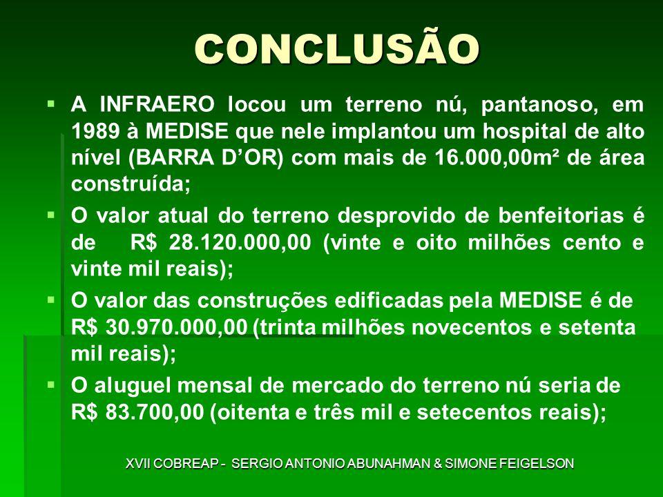 CONCLUSÃO A INFRAERO locou um terreno nú, pantanoso, em 1989 à MEDISE que nele implantou um hospital de alto nível (BARRA DOR) com mais de 16.000,00m²