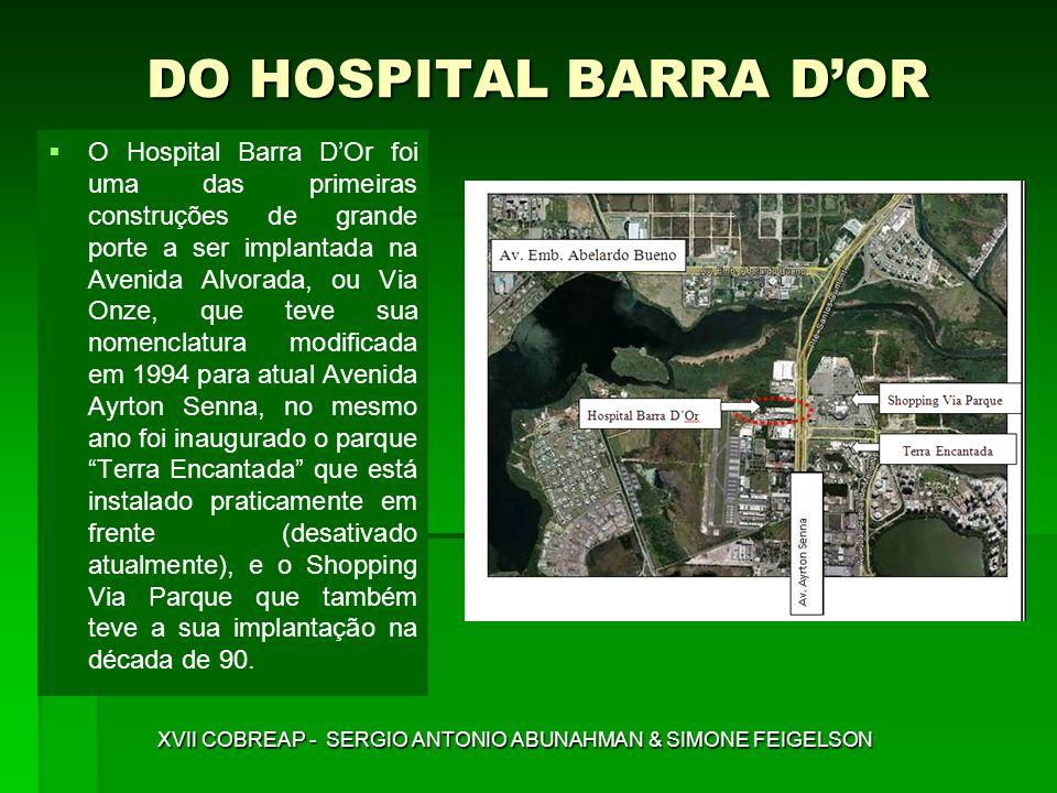 IMPLANTAÇÃO DO HOSPITAL BARRA DOR XVII COBREAP - SERGIO ANTONIO ABUNAHMAN & SIMONE FEIGELSON A implantação do Hospital levou cerca de 9 anos para se tornar realidade, ou seja, foi inaugurado apenas em março de 1998, tal como consta da placa comemorativa abaixo.