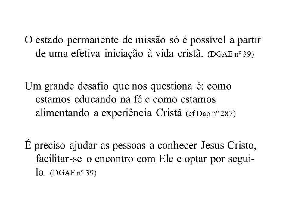 O estado permanente de missão só é possível a partir de uma efetiva iniciação à vida cristã.