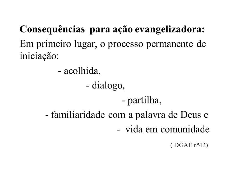 Consequências para ação evangelizadora: Em primeiro lugar, o processo permanente de iniciação: - acolhida, - dialogo, - partilha, - familiaridade com a palavra de Deus e - vida em comunidade ( DGAE nº42)