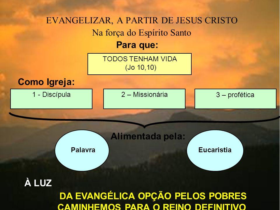 EVANGELIZAR, A PARTIR DE JESUS CRISTO Na força do Espírito Santo Como Igreja: 1 - Discípula2 – Missionária 3 – profética Para que: TODOS TENHAM VIDA (Jo 10,10) PalavraEucaristia Alimentada pela: À LUZ DA EVANGÉLICA OPÇÃO PELOS POBRES CAMINHEMOS PARA O REINO DEFINITIVO