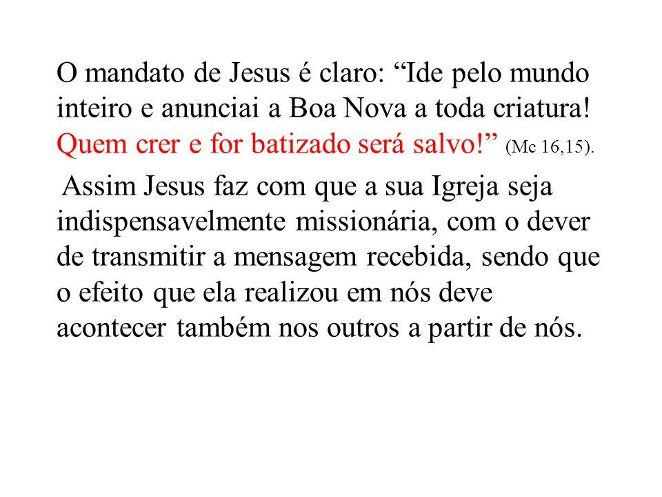 O mandato de Jesus é claro: Ide pelo mundo inteiro e anunciai a Boa Nova a toda criatura.