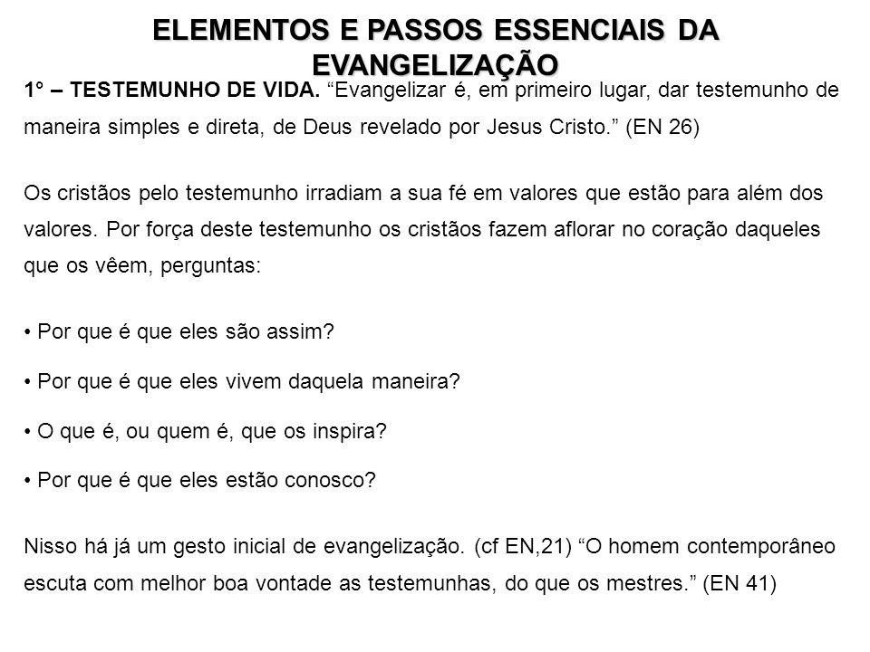 ELEMENTOS E PASSOS ESSENCIAIS DA EVANGELIZAÇÃO 1° – TESTEMUNHO DE VIDA.