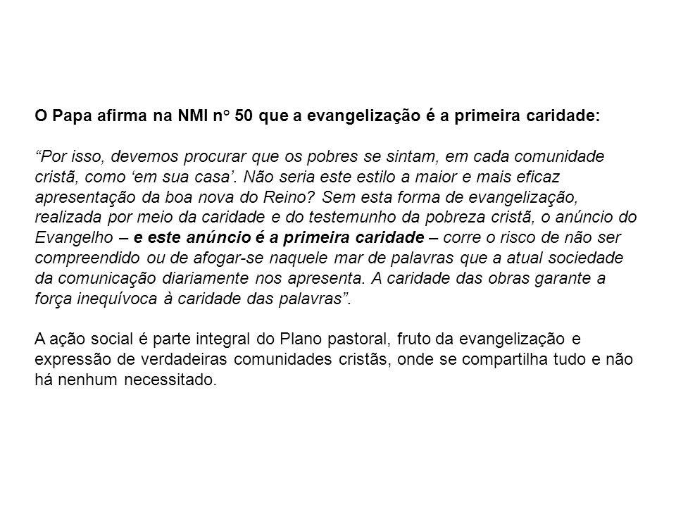 O Papa afirma na NMI n° 50 que a evangelização é a primeira caridade: Por isso, devemos procurar que os pobres se sintam, em cada comunidade cristã, como em sua casa.