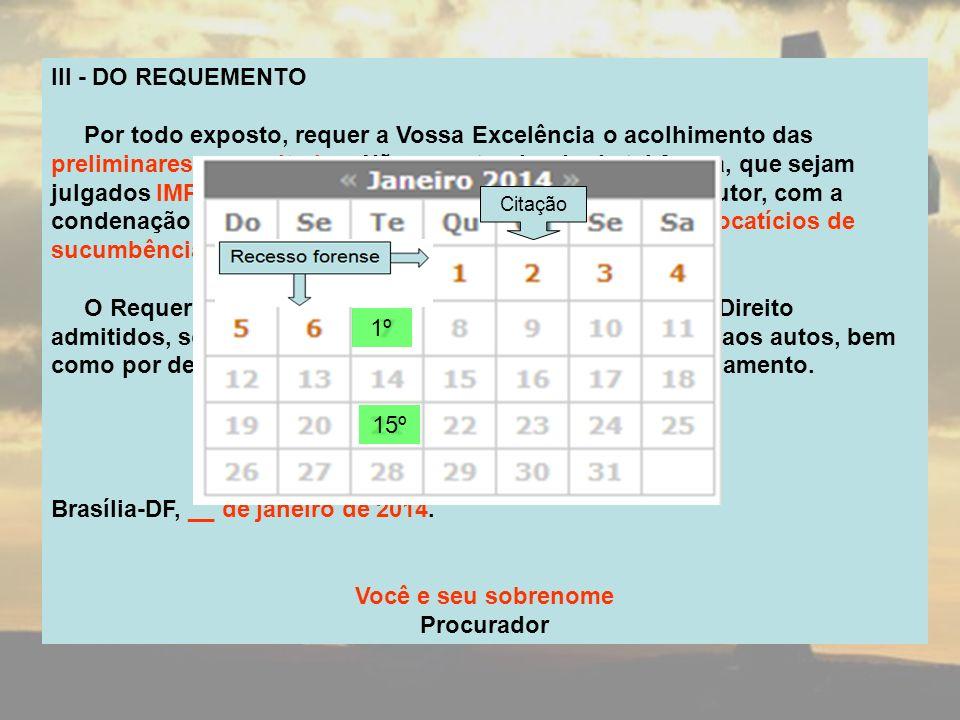 III - DO REQUEMENTO Por todo exposto, requer a Vossa Excelência o acolhimento das preliminares supracitadas.