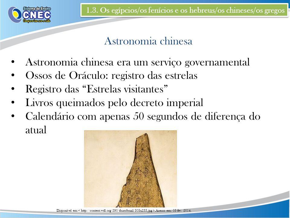 1.3. Os egípcios/os fenícios e os hebreus/os chineses/os gregos Astronomia chinesa Astronomia chinesa era um serviço governamental Ossos de Oráculo: r