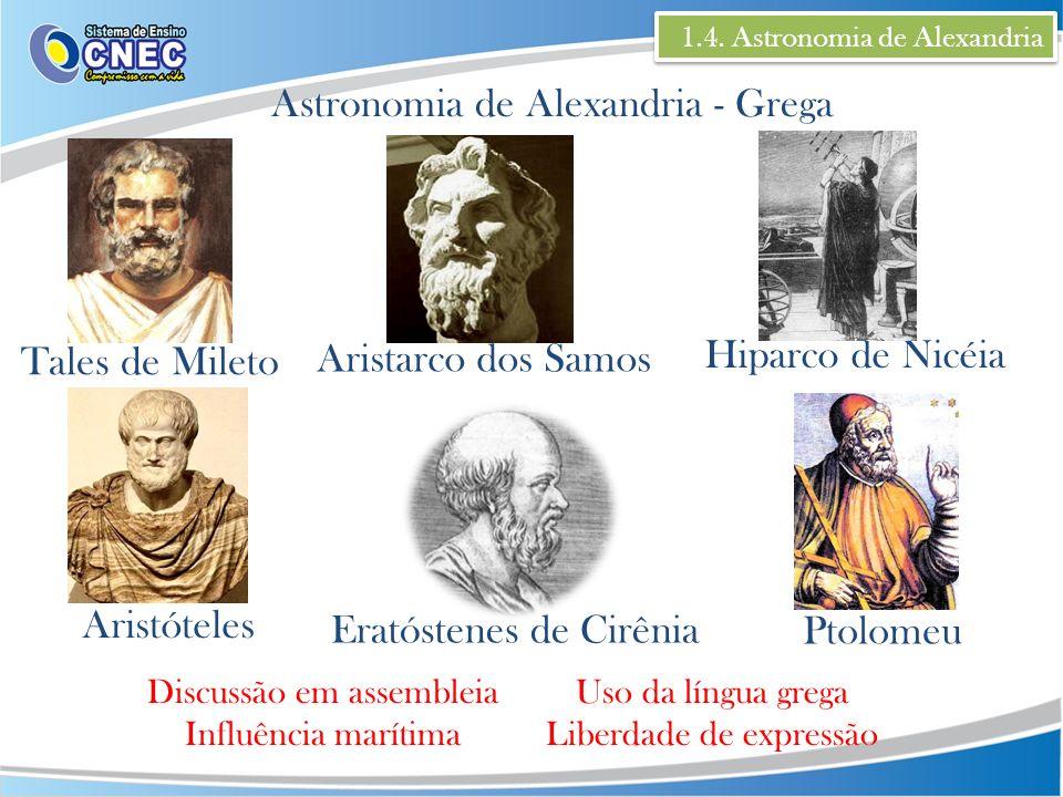 1.4. Astronomia de Alexandria Astronomia de Alexandria - Grega Tales de Mileto Aristóteles Aristarco dos Samos Eratóstenes de Cirênia Hiparco de Nicéi