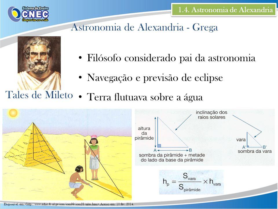 1.4. Astronomia de Alexandria Astronomia de Alexandria - Grega Tales de Mileto Filósofo considerado pai da astronomia Navegação e previsão de eclipse