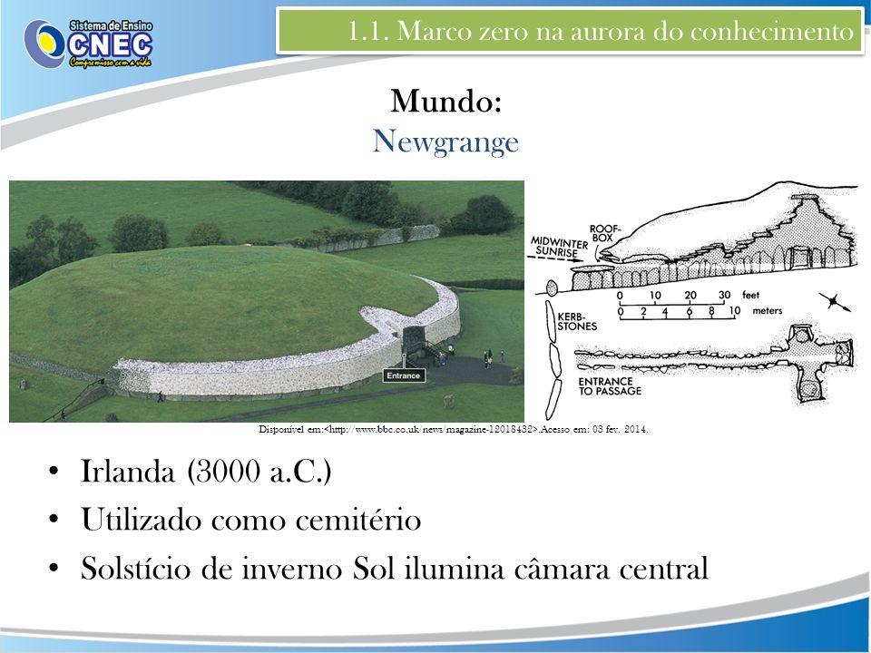 Disponível em:.Acesso em: 03 fev. 2014. 1.1. Marco zero na aurora do conhecimento Mundo: Newgrange Irlanda (3000 a.C.) Utilizado como cemitério Solstí