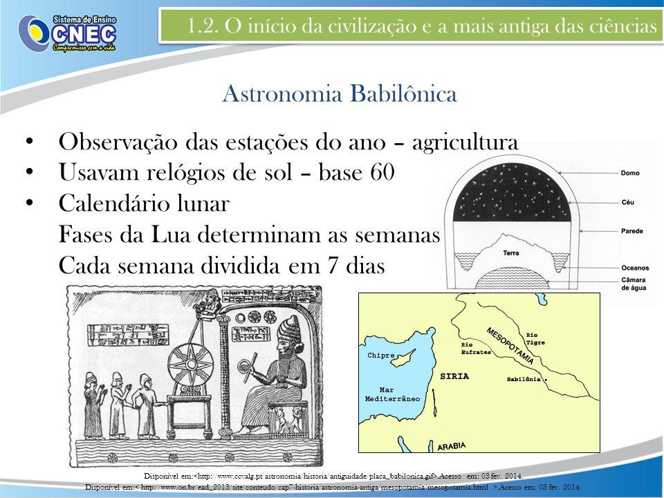 1.2. O início da civilização e a mais antiga das ciências Observação das estações do ano – agricultura Usavam relógios de sol – base 60 Calendário lun