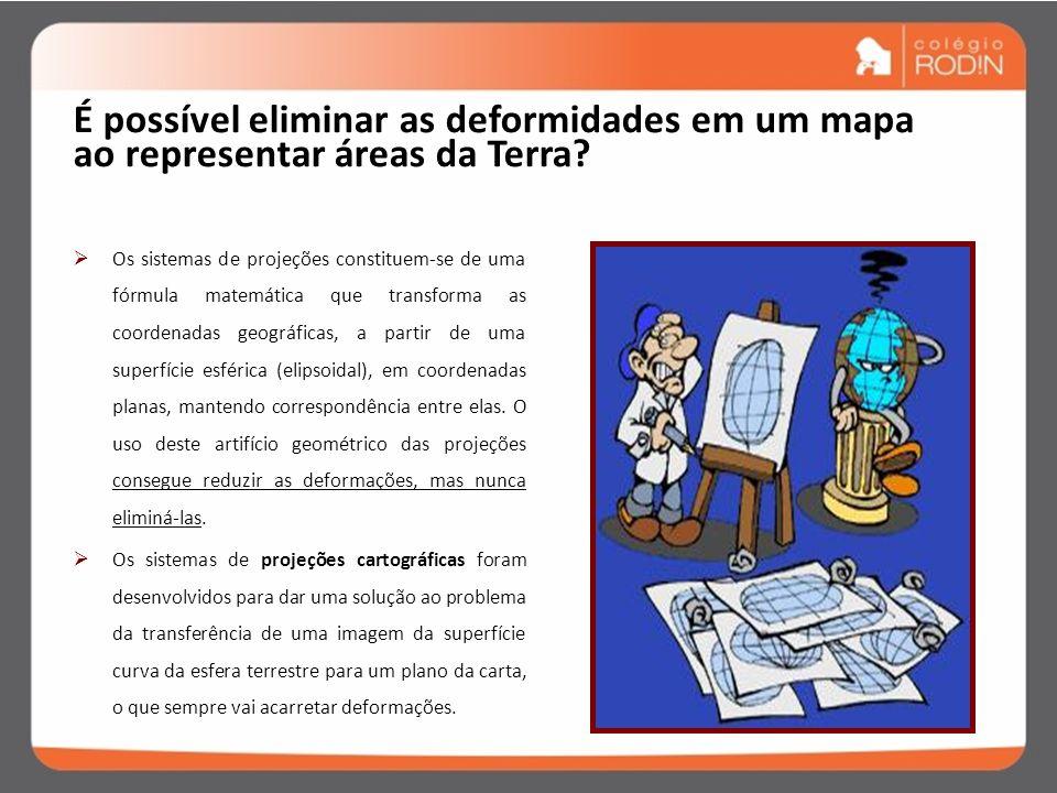 Projeções cartográficas Os sistemas de projeções cartográficas foram desenvolvidos para dar uma solução ao problema da transferência de uma imagem da