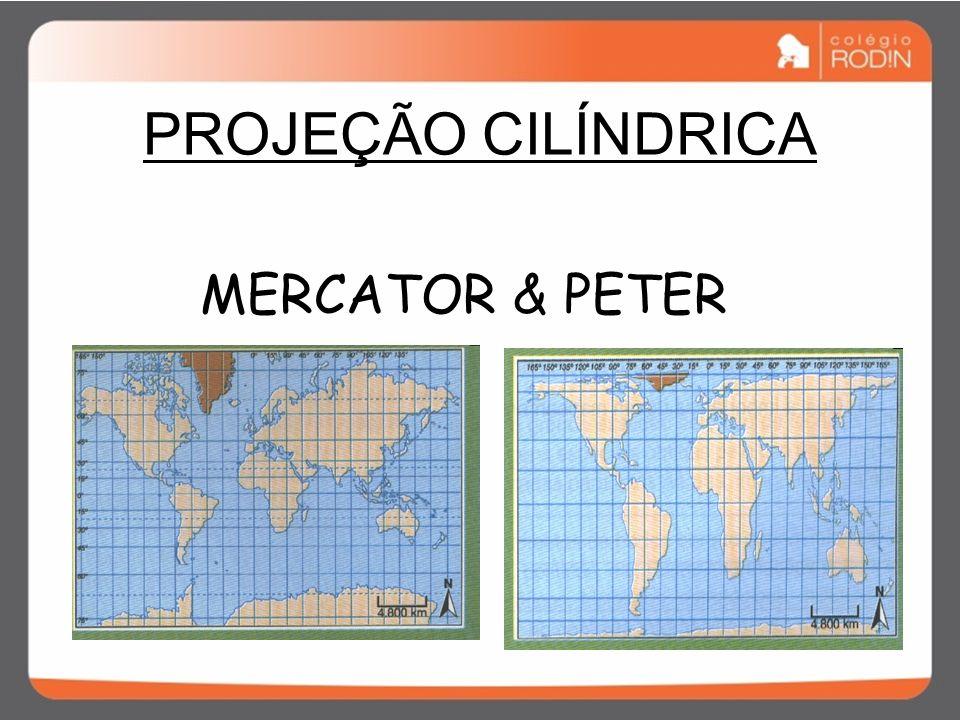 PROJEÇÃO CILÍNDRICA Meridianos e paralelos – 90 graus Distorção nas médias e altas latitudes Mapa - Mundi