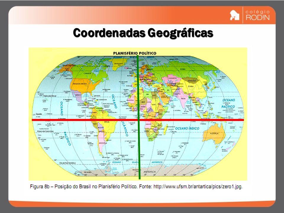 Coordenadas Geográficas Paralelos Latitude de 0° a 90° N ou S Meridianos Longitude de 0° a 180° L (E) ou O (W)