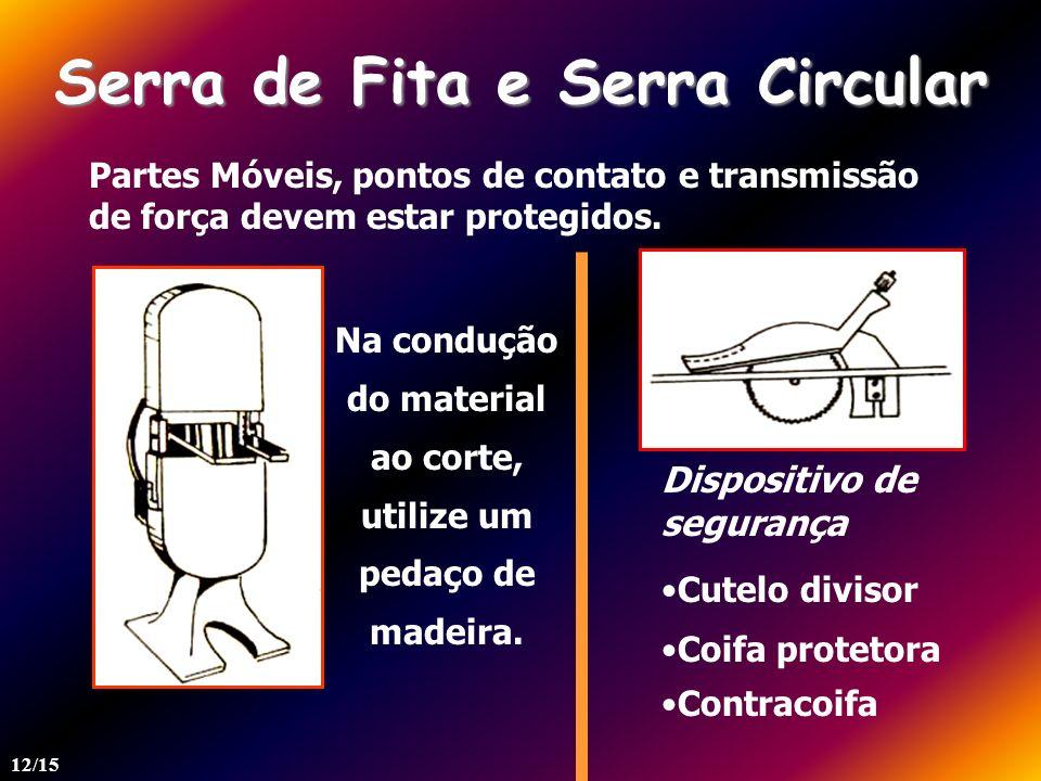 Serra de Fita e Serra Circular Partes Móveis, pontos de contato e transmissão de força devem estar protegidos. Dispositivo de segurança Cutelo divisor