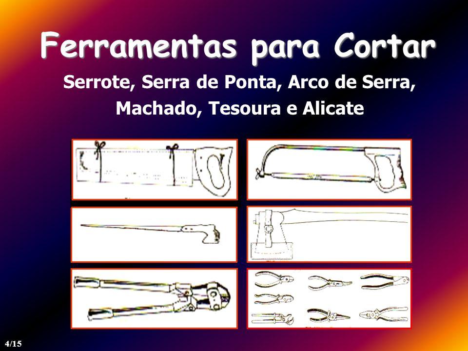 Ferramenta para Rebarbar Lima e Grosa Nunca utilize lima e grosa sem cabo ou como alavanca. 5/15