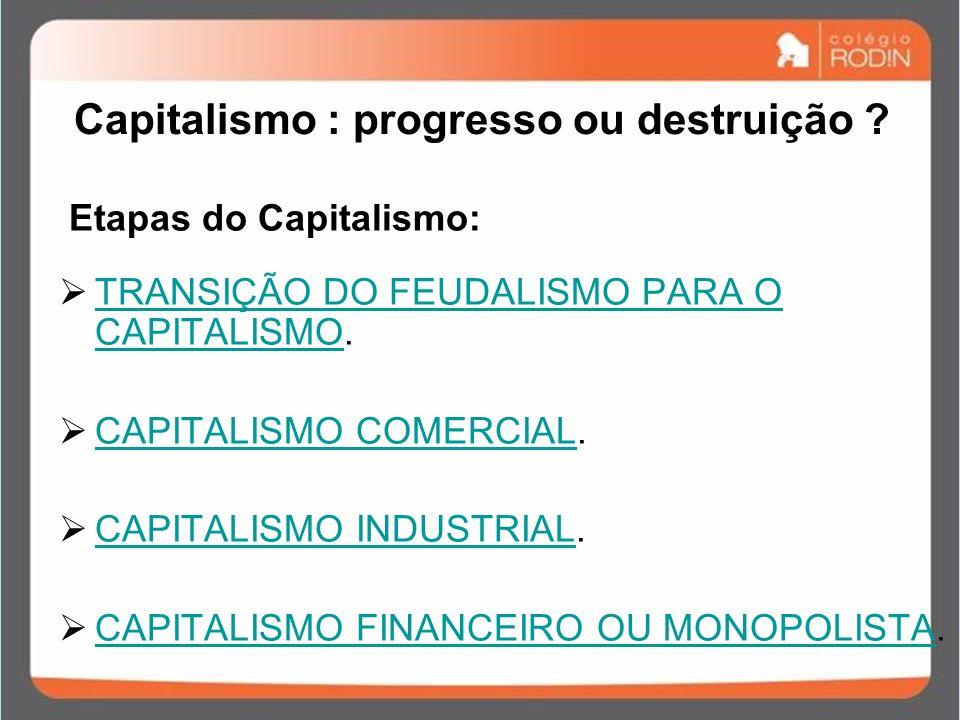 Capitalismo : progresso ou destruição .