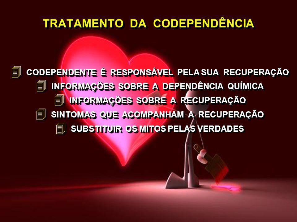 TRATAMENTO DA CODEPENDÊNCIA 4 CODEPENDENTE É RESPONSÁVEL PELA SUA RECUPERAÇÃO 4 INFORMAÇÕES SOBRE A DEPENDÊNCIA QUÍMICA 4 INFORMAÇÕES SOBRE A RECUPERA