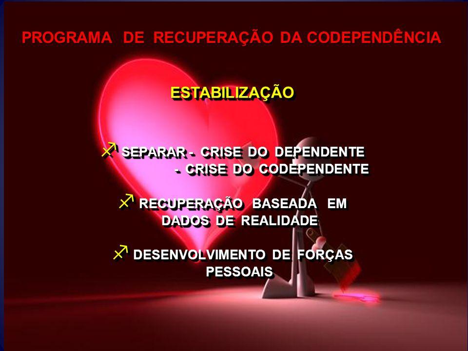 PROGRAMA DE RECUPERAÇÃO DA CODEPENDÊNCIA f SEPARAR - CRISE DO DEPENDENTE - CRISE DO CODEPENDENTE - CRISE DO CODEPENDENTE f RECUPERAÇÃO BASEADA EM DADO