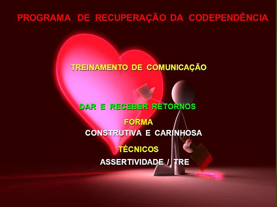 PROGRAMA DE RECUPERAÇÃO DA CODEPENDÊNCIA TREINAMENTO DE COMUNICAÇÃO DAR E RECEBER RETORNOS FORMA FORMA CONSTRUTIVA E CARINHOSA CONSTRUTIVA E CARINHOSA