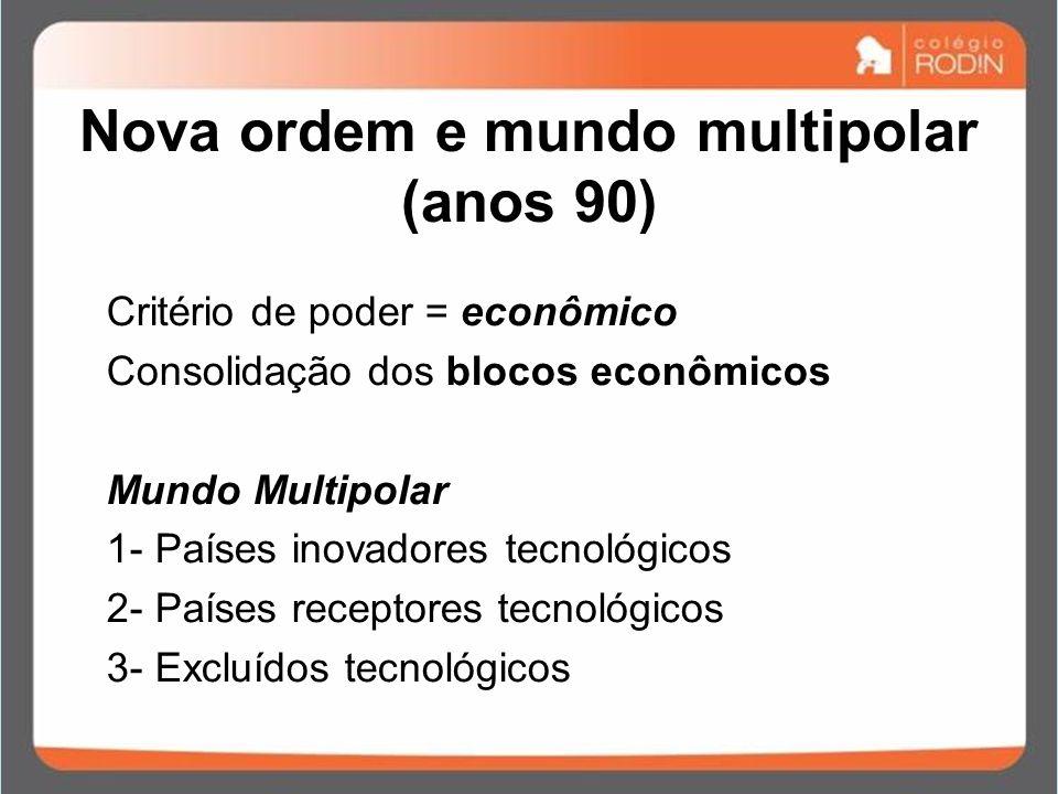 Nova ordem e mundo multipolar (anos 90) Critério de poder = econômico Consolidação dos blocos econômicos Mundo Multipolar 1- Países inovadores tecnoló