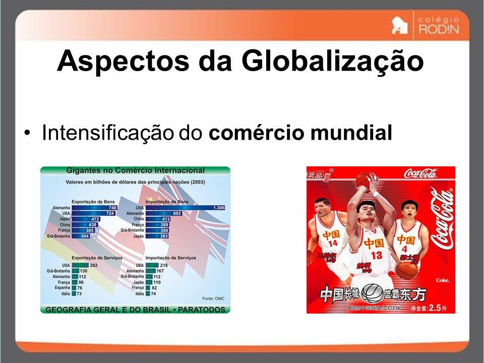 Aspectos da Globalização Intensificação do comércio mundial