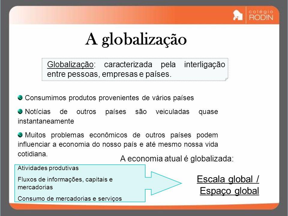 A globalização Globalização: caracterizada pela interligação entre pessoas, empresas e países. A economia atual é globalizada: Atividades produtivas F