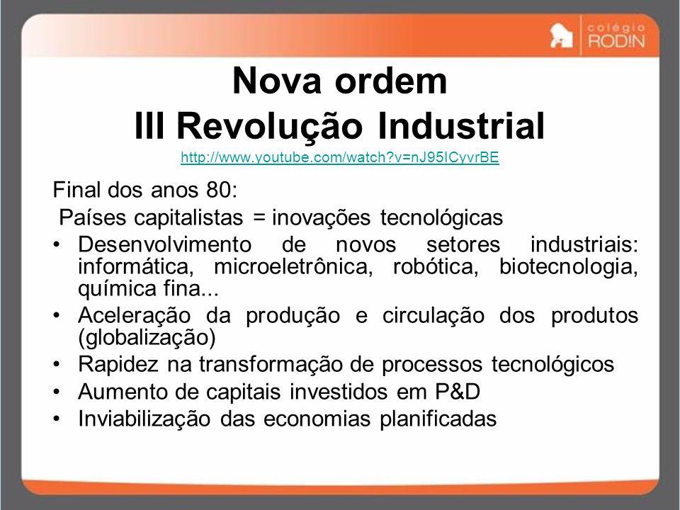 Nova ordem III Revolução Industrial http://www.youtube.com/watch?v=nJ95ICyvrBE http://www.youtube.com/watch?v=nJ95ICyvrBE Final dos anos 80: Países ca
