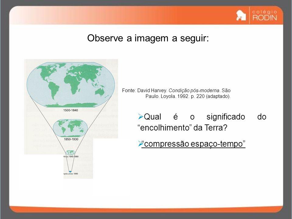 Observe a imagem a seguir: Qual é o significado do encolhimento da Terra? compressão espaço-tempo Fonte: David Harvey. Condição pós-moderna. São Paulo